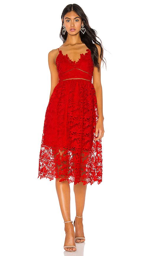 Bardot Sonya Lace Dress in Fire Red | REVOL