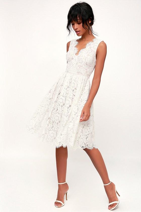 Lovely White Dress - White Lace Dress - White Lace Midi Dre