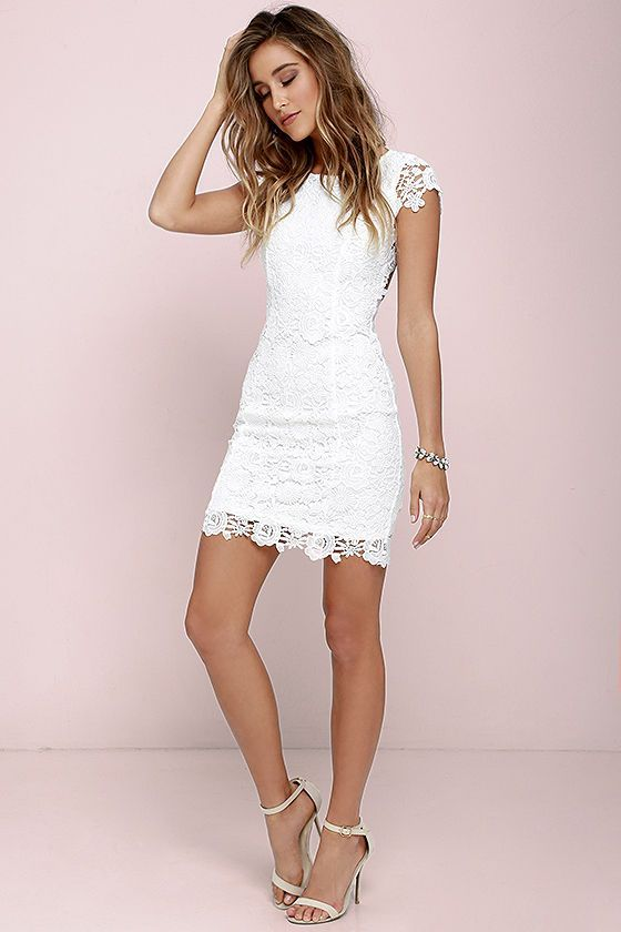 14 inspiring white lace dress outfits for all seasons | White .
