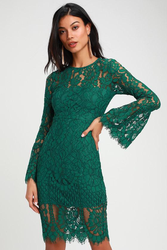 Chic Lace Dress - Green Lace Dress - Lace Midi Dre