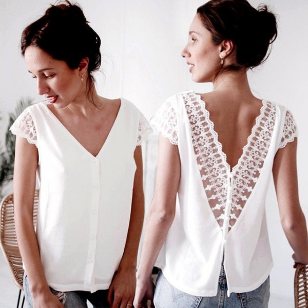 Womens Casual Short Sleeve Lace Tops and blouses elegant Ladies .