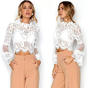 Amazon.com: Snowfoller Women Lace Tops Fashion Floral Mesh Hollow .