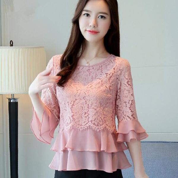 fashion mesh stitching chiffon blouse elegant ruffle lace tops .