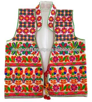 Gujarati Satin Embroidery Ladies Vests-waistcoats-jacket-navratri .