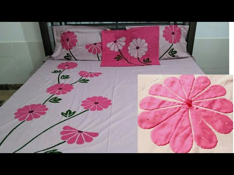 Applique#Bedsheet #Design#applic #work on bedsheet #trending .