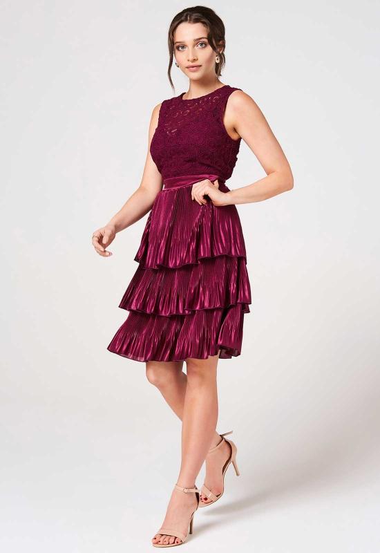 Little Mistress Mulberry Lace Layered Dress | Little Black