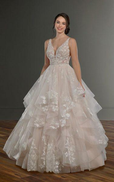 Sleeveless V-Neck Ballgown Wedding Dress With Layered Skirt .