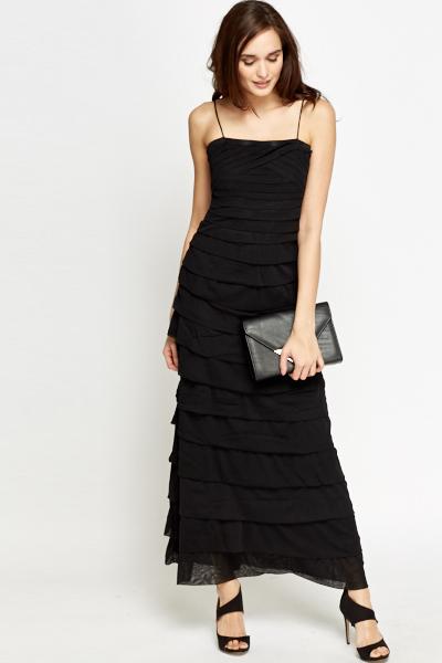Black Layered Maxi Dress - Just