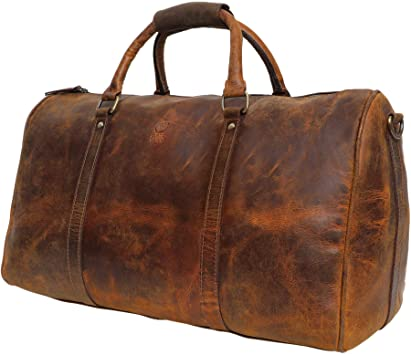 Amazon.com | Handmade Extra Strong Buffalo Leather Duffel Bags For .