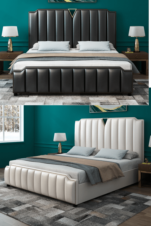 Take a peek at these beautiful leather bed frame designs to make .