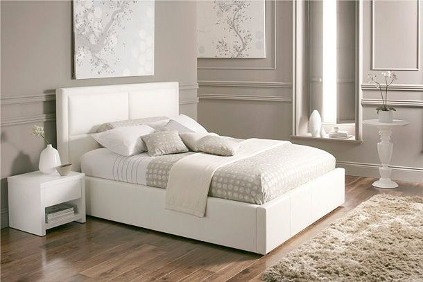 8 Sensible Decorative White Bed Designs   White leather b
