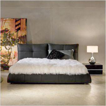 Lago Leather Bed - White - Scan Design   Modern and Contemporary .