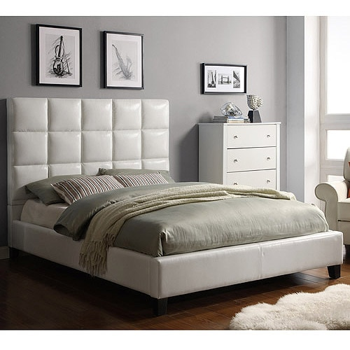 High Back Modern leather Soft Bed,Cream White leather Best .