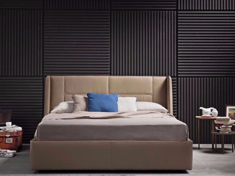 Imitation leather double bed with upholstered headboard MAYA by .