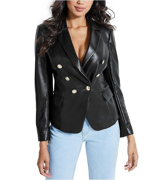GUESS Faux-Leather Blazer & Reviews - Jackets & Vests - Juniors .