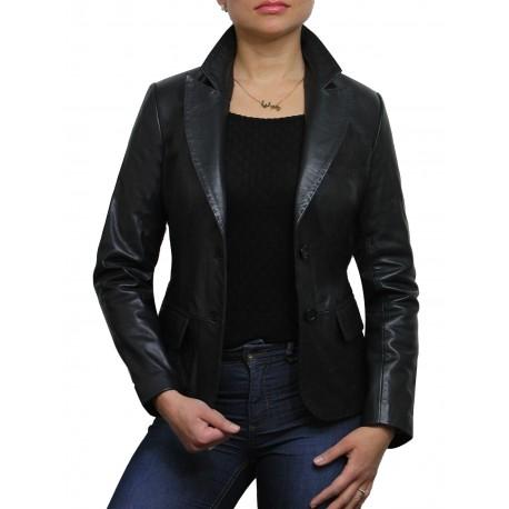 Women Classic Black Real Leather Blazer Coat Style Jack