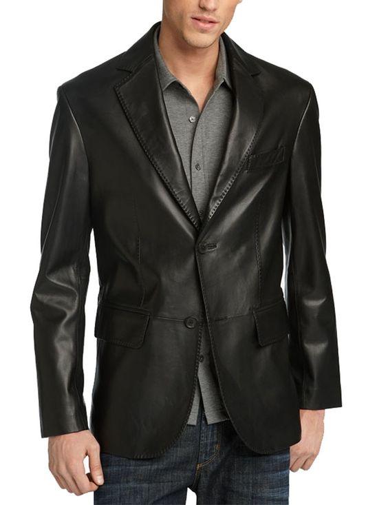 Mens Black Leather Blazer Jacket   Slim Fit Leather Blaz