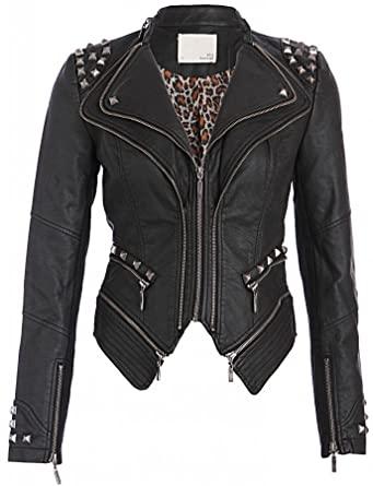 Womens Black Faux Leather Moto Biker Jacket with Studs Slim Fit .