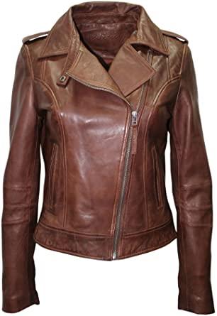 Infinity Ladies Brown Casual Retro Brando Soft Nappa Leather Biker .