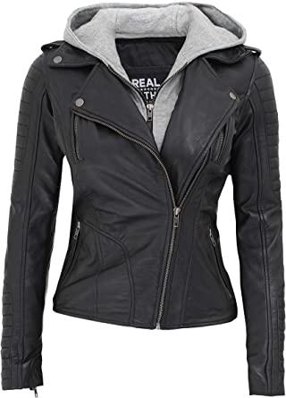 Real Hooded Jacket Women - Asymmetrical Lambskin Black Leather .