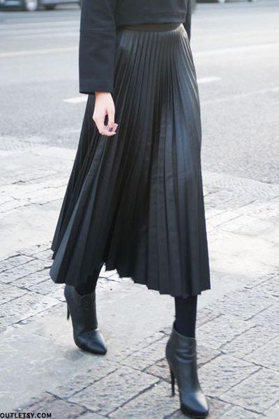 Pleated Leather Skirts | Fashion, Leather pleated ski
