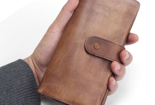 Cool Vintage Mens long leather wallet men bifold long wallets for m