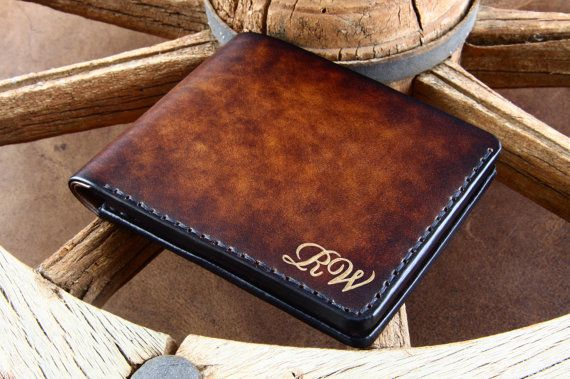 Italian Leather Wallet for man with your initials or name .