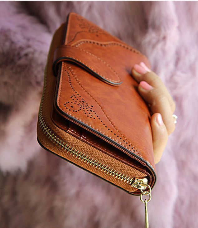 Women Brown Wallet Leather Long Zipper Wristlet Purse (With images .
