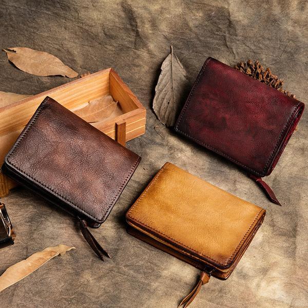 Vintage Leather Wallet, Full Grain Leather Purses, Handmade Zipper .
