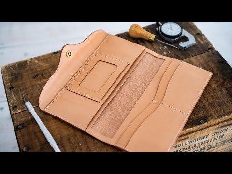 Making a Women's Leather Long Wallet - YouTu