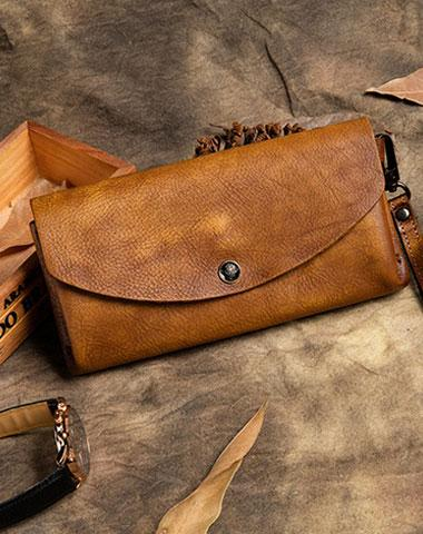 Handmade Long Leather Wallet Vintage Wallet Botton Clucth Purse For