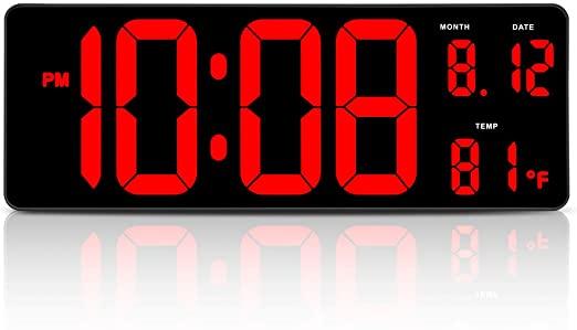 "Amazon.com: DreamSky 14.5"" Large Digital Wall Clock with Date ."