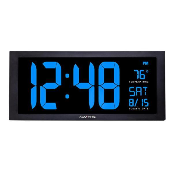AcuRite 18 in. Large LED Clock with Indoor Temperature in Blue .
