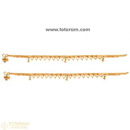22K Gold Anklets - Leg Chains Payal in 22K Gold -Indian Gold .