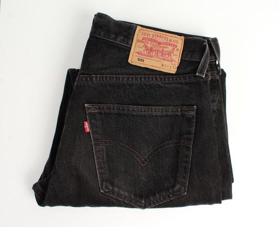 Vintage Levis Jeans / 90s LEVIS 501 Boot Cut Black Denim Jeans | Et