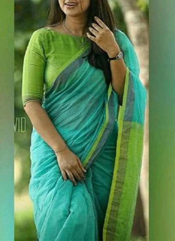 Organic Linen saree with zari dupion border multiple colors | Et