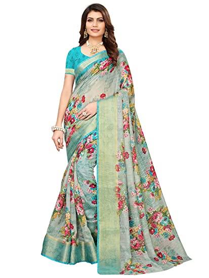 Buy AKHILAM Women's Linen Saree With Blouse Piece (BGBLT80001 .
