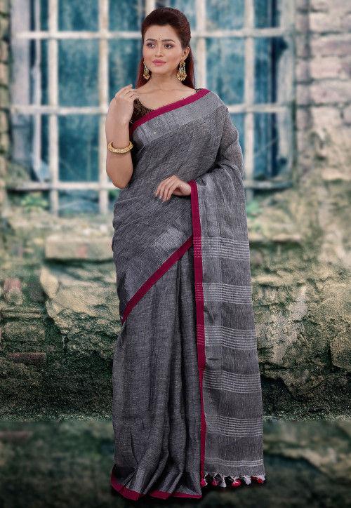 Handloom Pure Linen Saree in Grey : SPN43