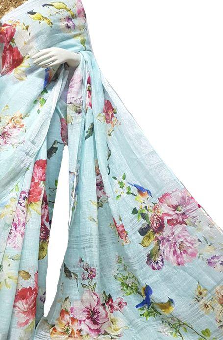 Pastel Digital Printed Linen Saree #handpaintedsaree#handcrafted .