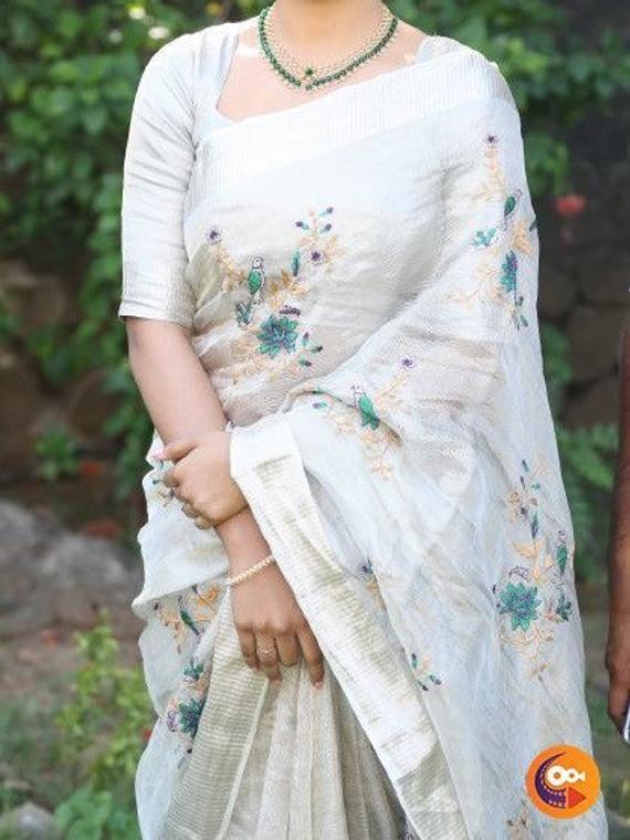 Tissue Linen saree Organic Linen by Linen sarees with zari | Et