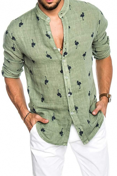 Funny Flamingo Silhouette Pattern Long Sleeve Button Up Regular .