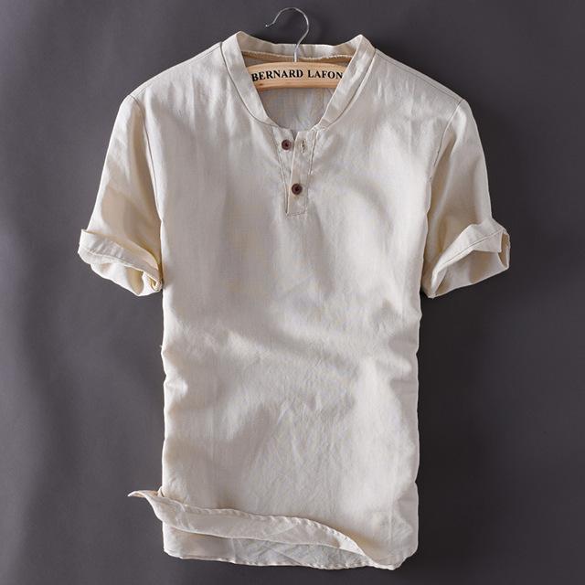 2020 Mens Pullover Linen Shirts Short Sleeve Summer Breathable .