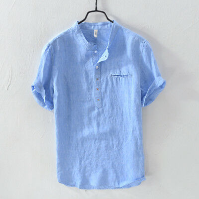 Summer 100% Linen Shirts Men Short Sleeve Pullover Thin Linen .