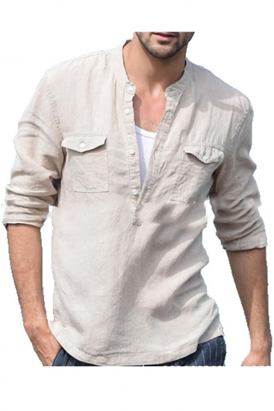 Mens Hot Trendy Long Sleeve Stand Collar Button Front Pocket Front .