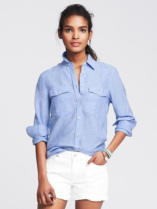 Home (With images) | Linen shirts women, Blue shirt women, Linen .