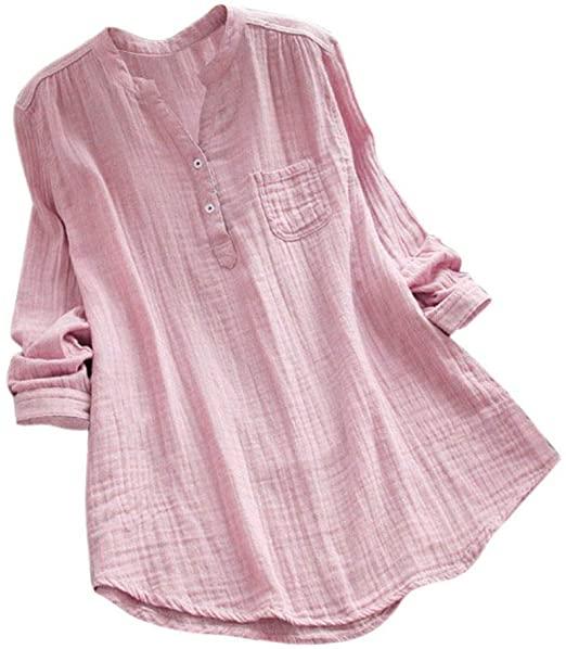 Amazon.com: ANBOO Cotton Linen Shirts for Women, Stand Collar Long .