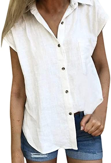 Letdown Cotton Linen Shirts for Women Short Sleeve Button Down .