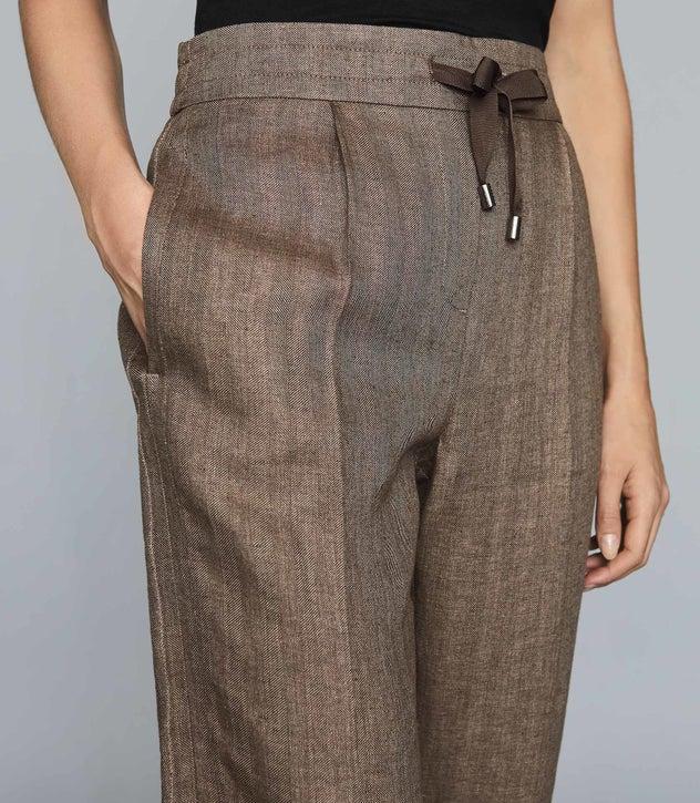 Claud Dark Brown Herringbone Linen Trousers – REI