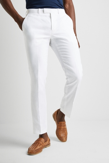 Moss 1851 Tailored Fit White Linen Pan