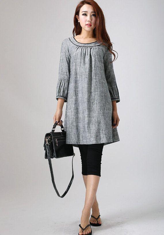 Linen tunic, tunic dress, shift dress, grey tunic, tunic top .